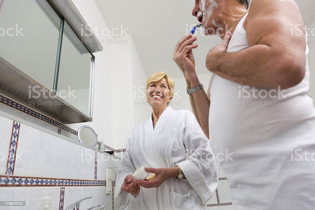 Senior couple in Bathroom royalty-free stock photo