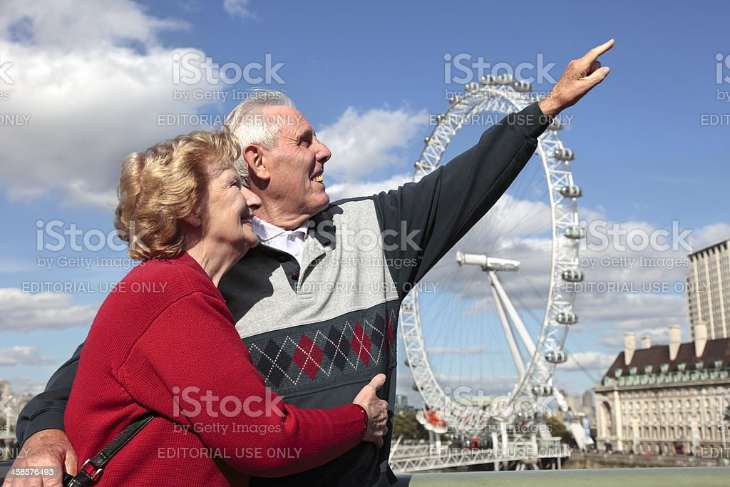 Senior couple in London royalty-free stock photo