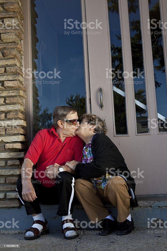 Senior Couple In Love Kissing royalty-free stock photo