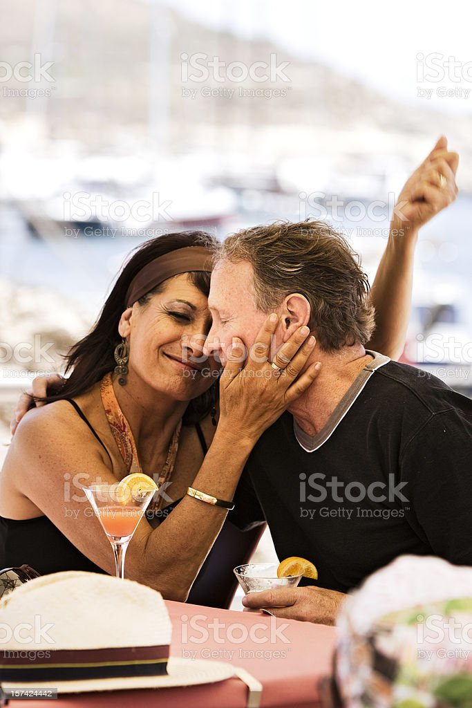 Senior couple in marina royalty-free stock photo