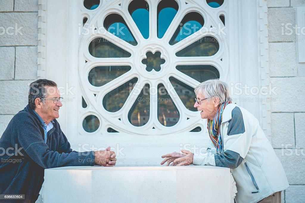 Senior Couple in Mediterranean Town Pucisca, Brac Island, Croatia, Europe stock photo