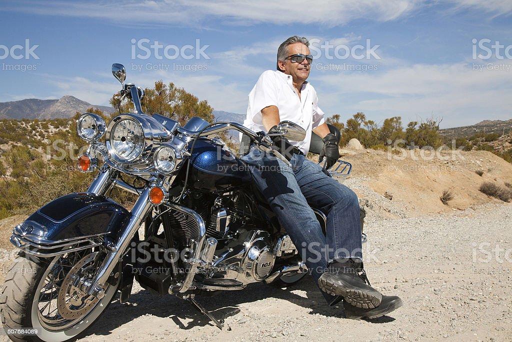 Senior couple in the desert stock photo