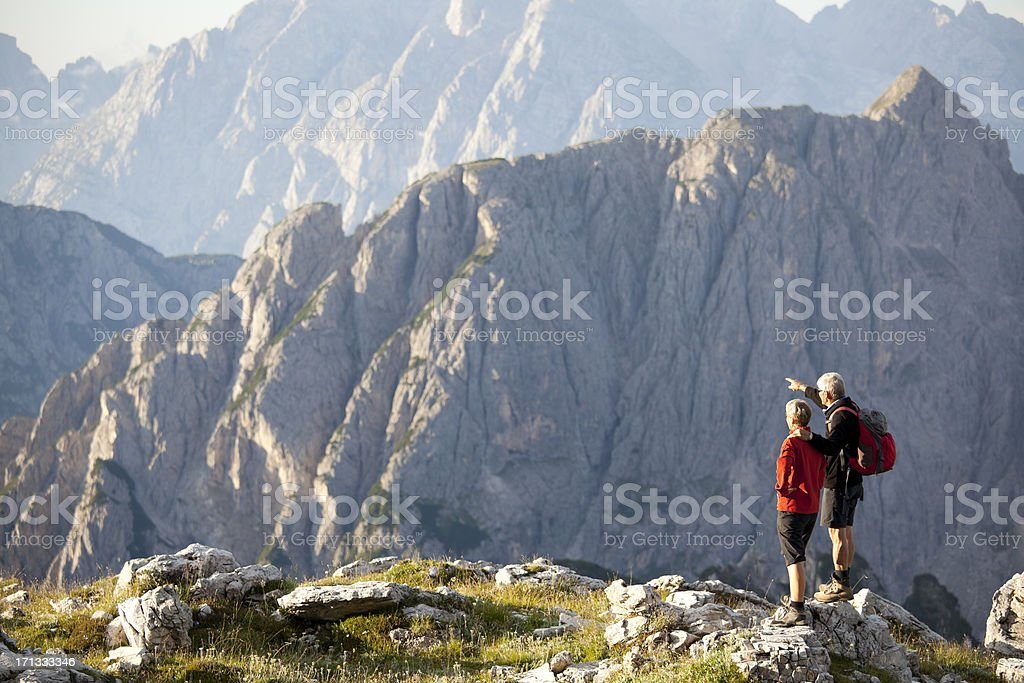 Senior couple in the mountains royalty-free stock photo