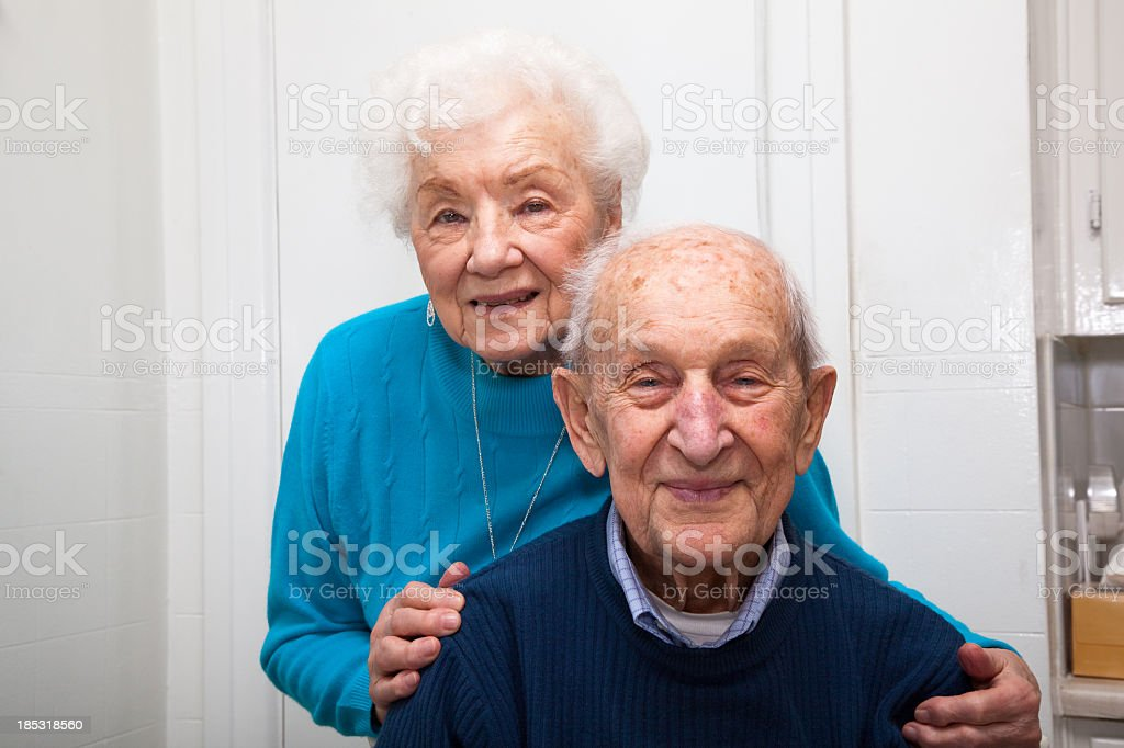 Senior couple in their eighties married 69 years royalty-free stock photo