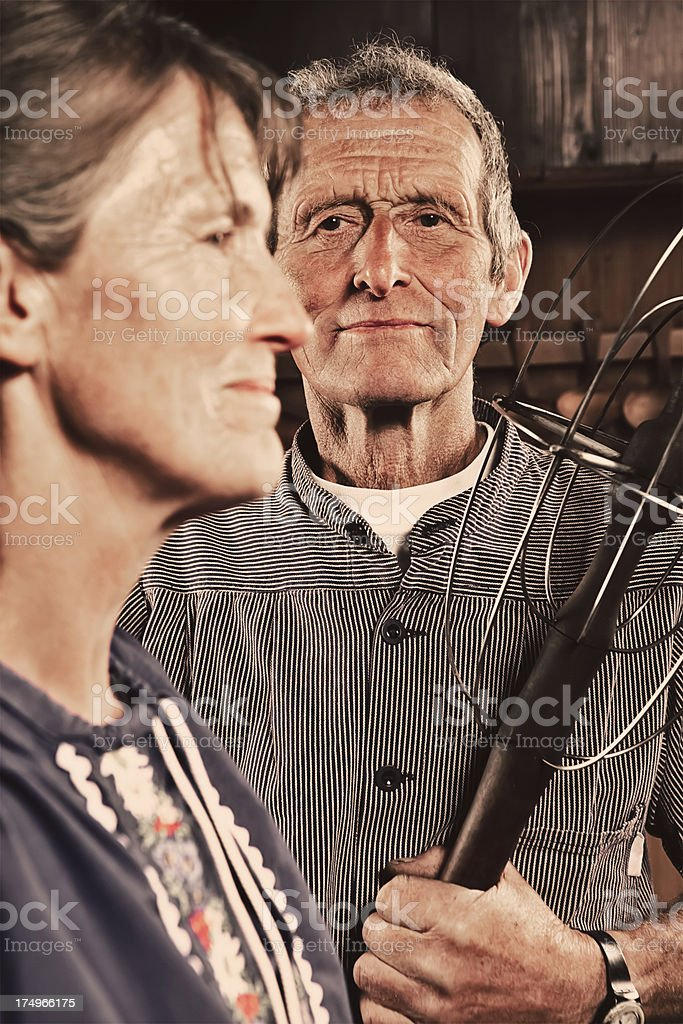 Senior Couple in Traditional Swiss Attire stock photo