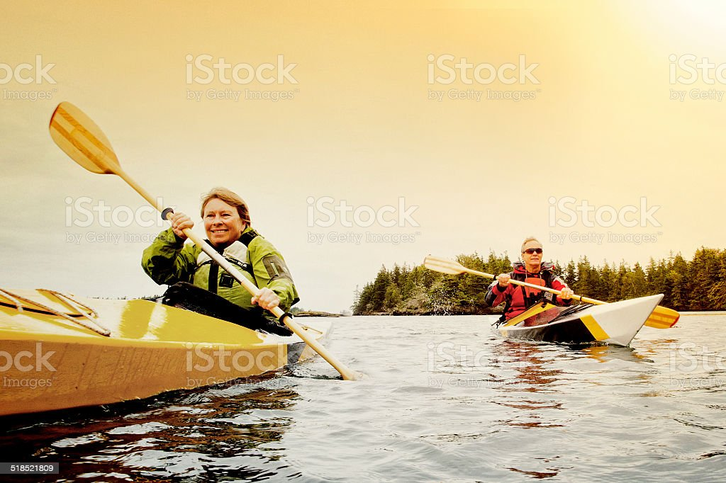 Senior Couple Kayaking stock photo