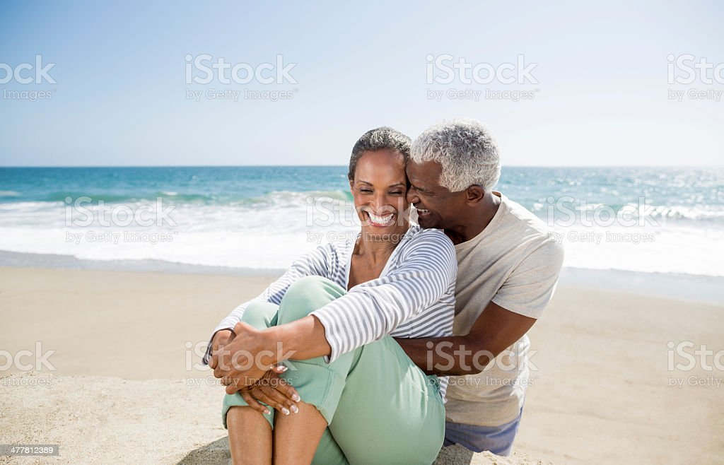 Senior couple laughing and having fun royalty-free stock photo