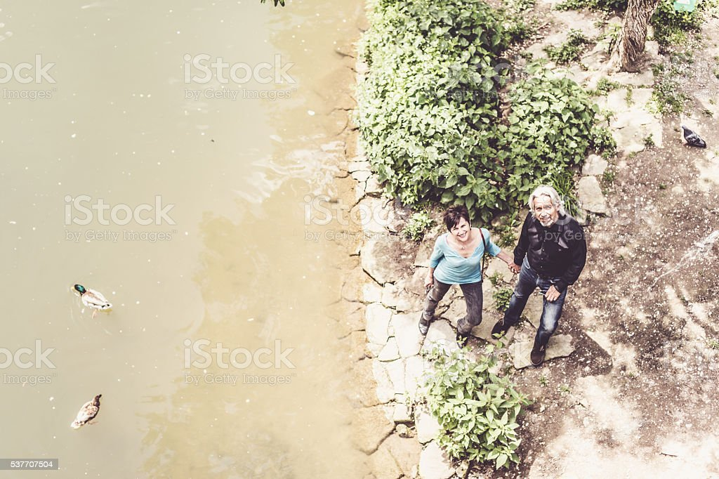 Senior couple looking at ducks swimming in Neckar river stock photo