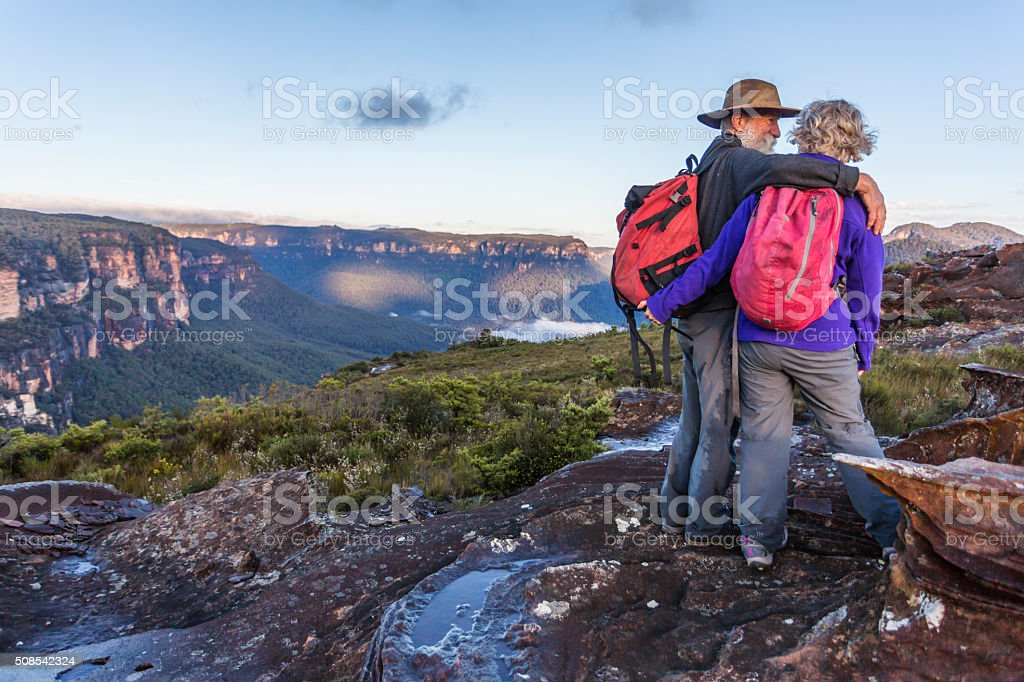 Senior Couple Looking at View While Bushwalking in Australia stock photo
