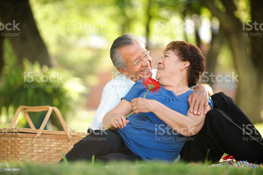 Senior couple looking each other royalty-free stock photo