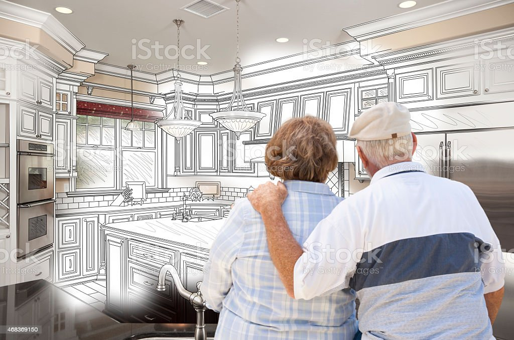 Senior Couple Looking Over Custom Kitchen Design Drawing and Pho vector art illustration