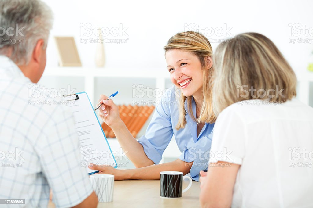 Senior Couple Meeting with Financial advisor. royalty-free stock photo