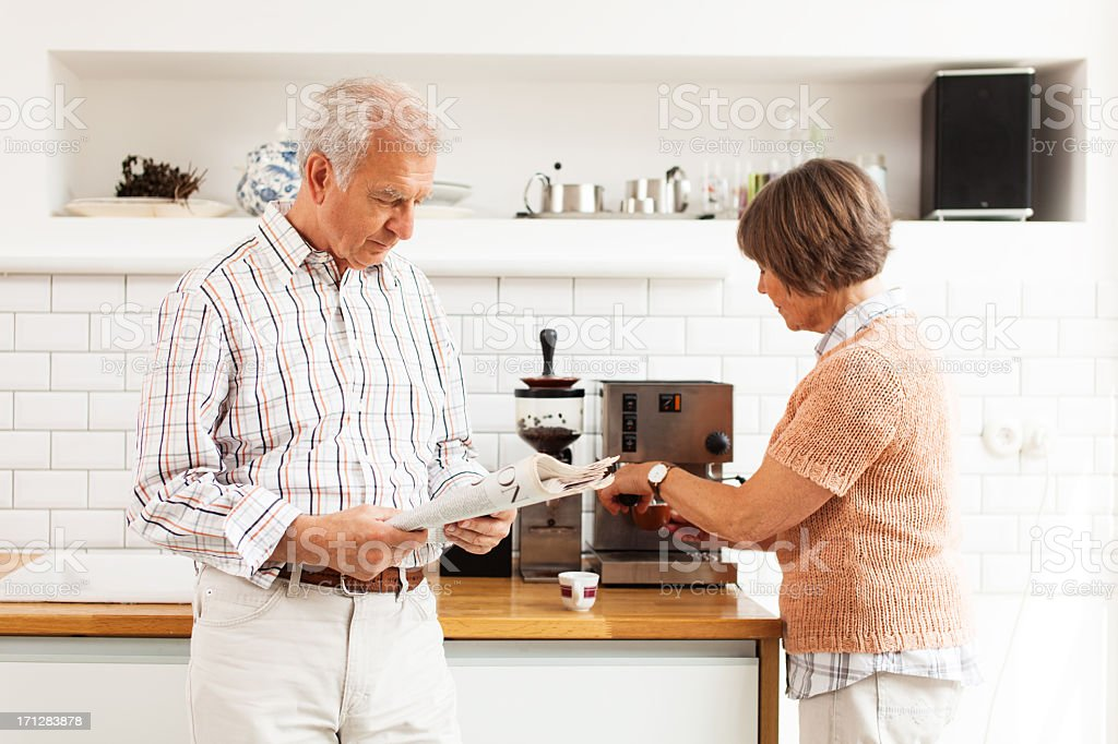 senior couple morning coffee royalty-free stock photo