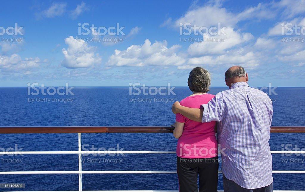 Senior Couple on a ocean cruise stock photo
