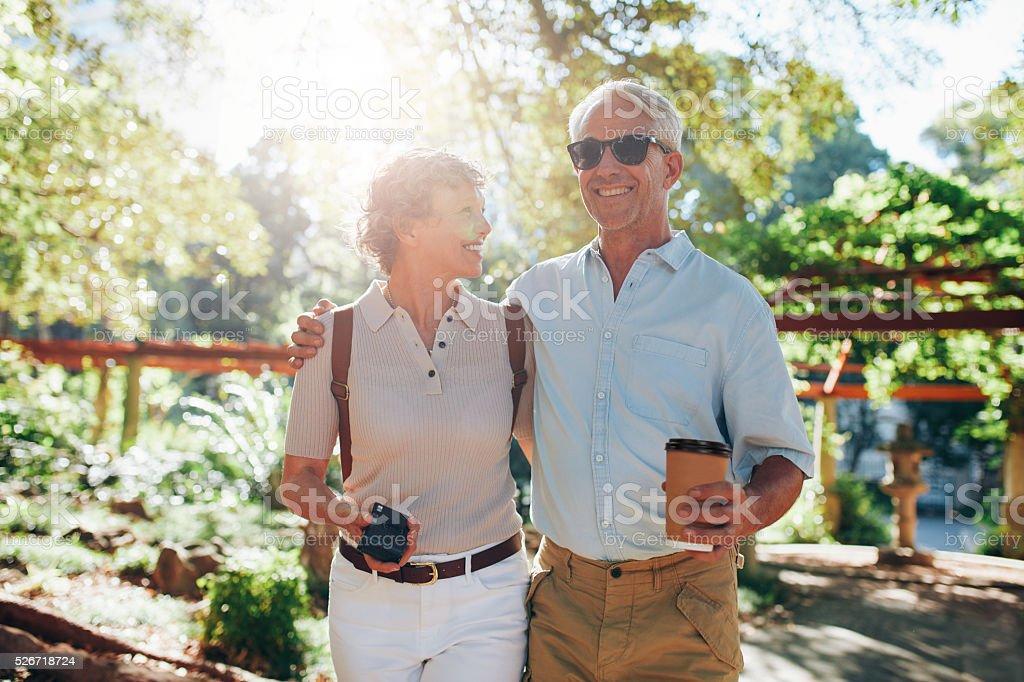 Senior couple on a vacation stock photo