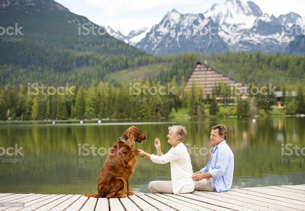 Senior couple on pier stock photo
