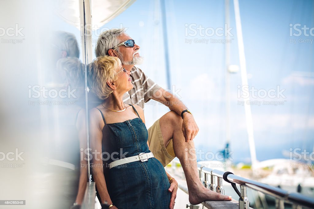 Senior Couple On Yacht stock photo