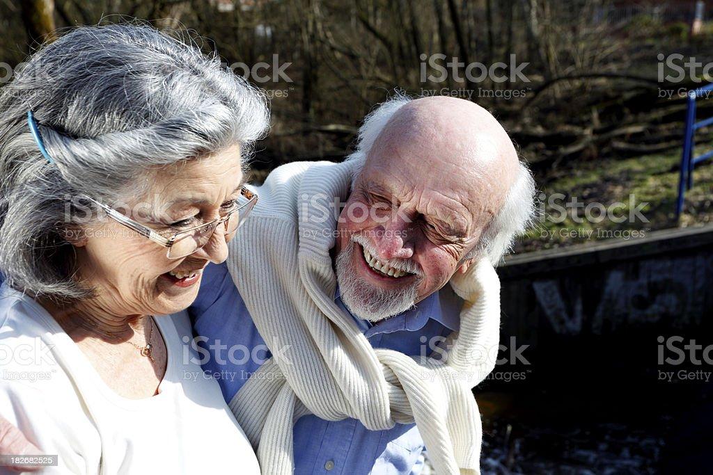 Senior Couple Outdoor in Spring Sun royalty-free stock photo