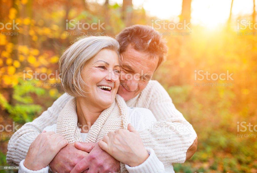Senior couple outside stock photo