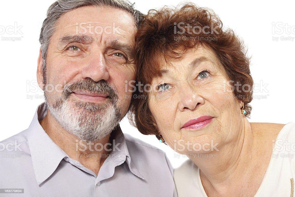 Senior couple portrait, isolated royalty-free stock photo