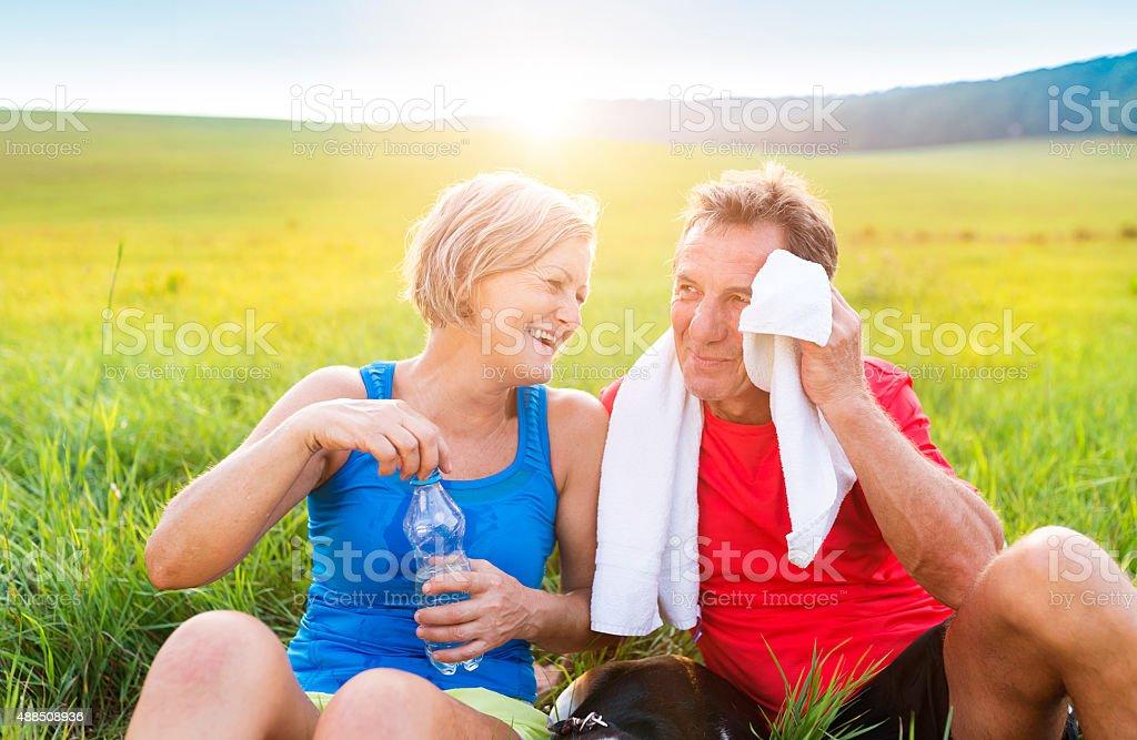 Senior couple relaxing stock photo