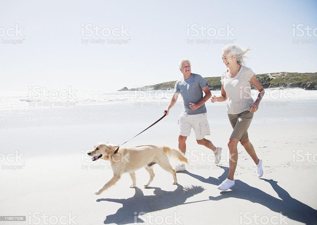 Senior couple running on beach with dog stock photo