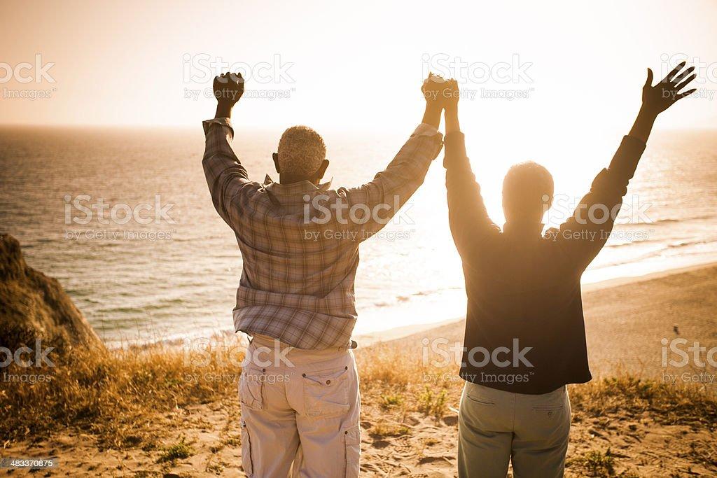 Senior Couple Silhouette stock photo