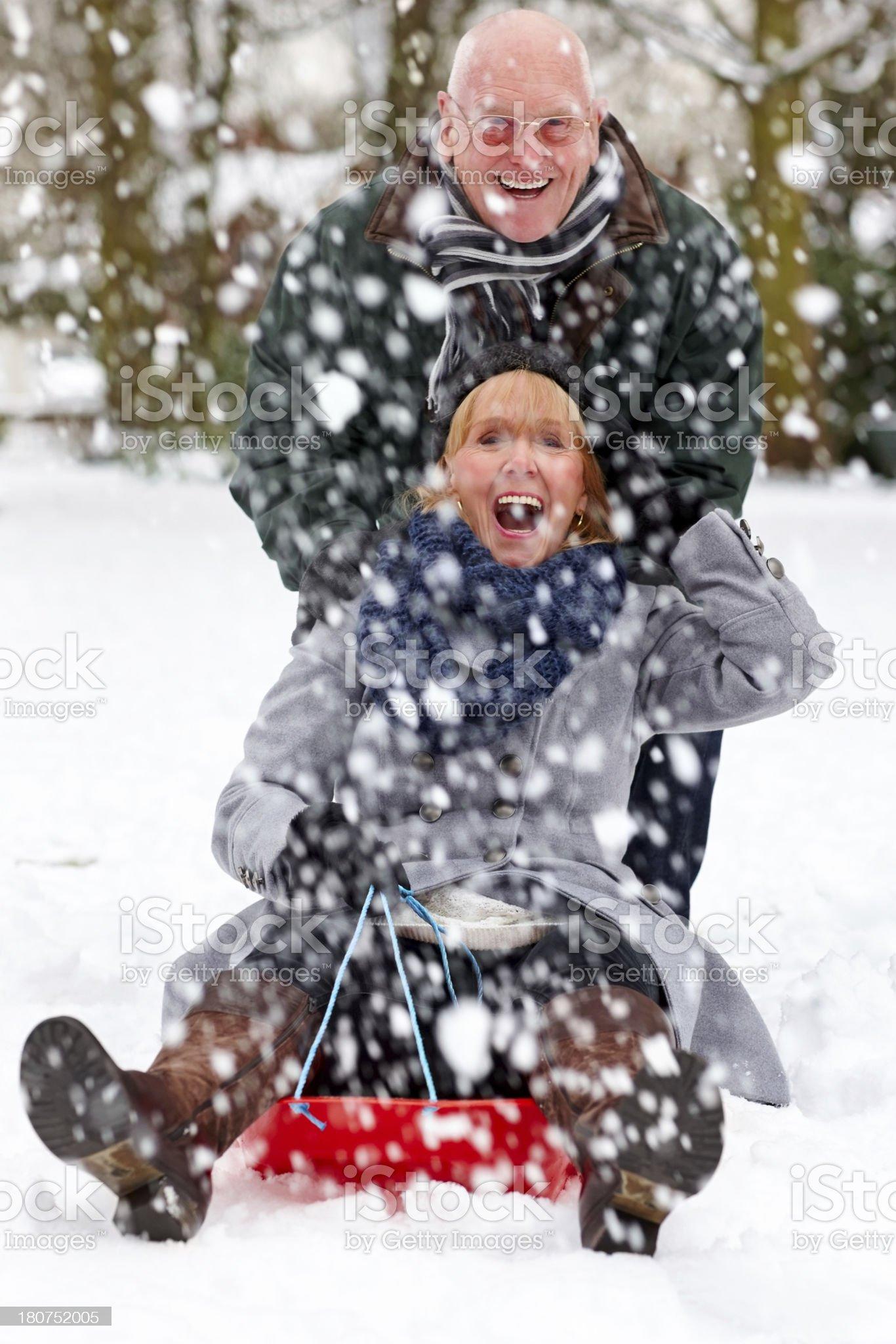 Senior couple sledging through snowy park royalty-free stock photo