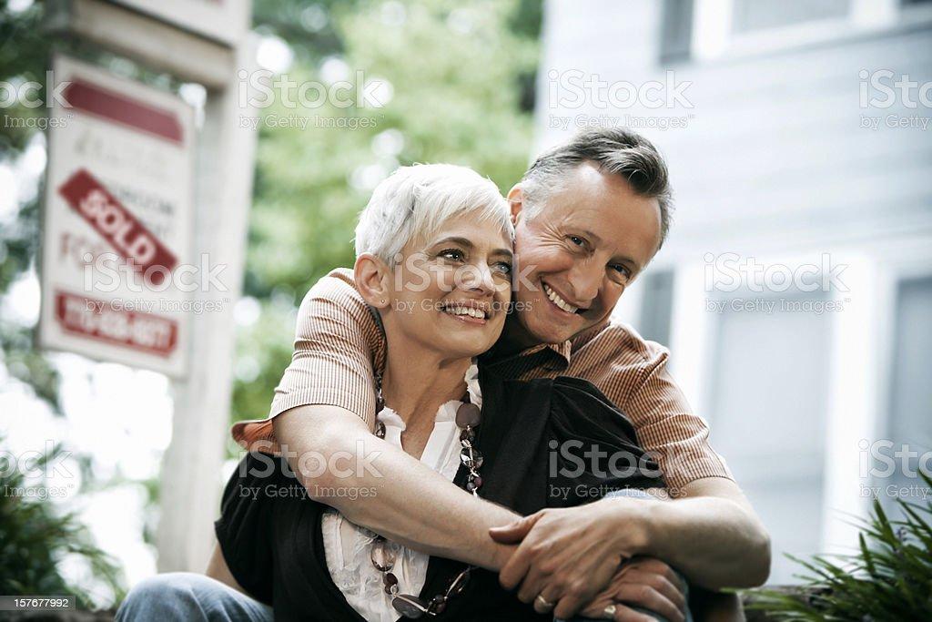 Senior Couple Sold Home stock photo
