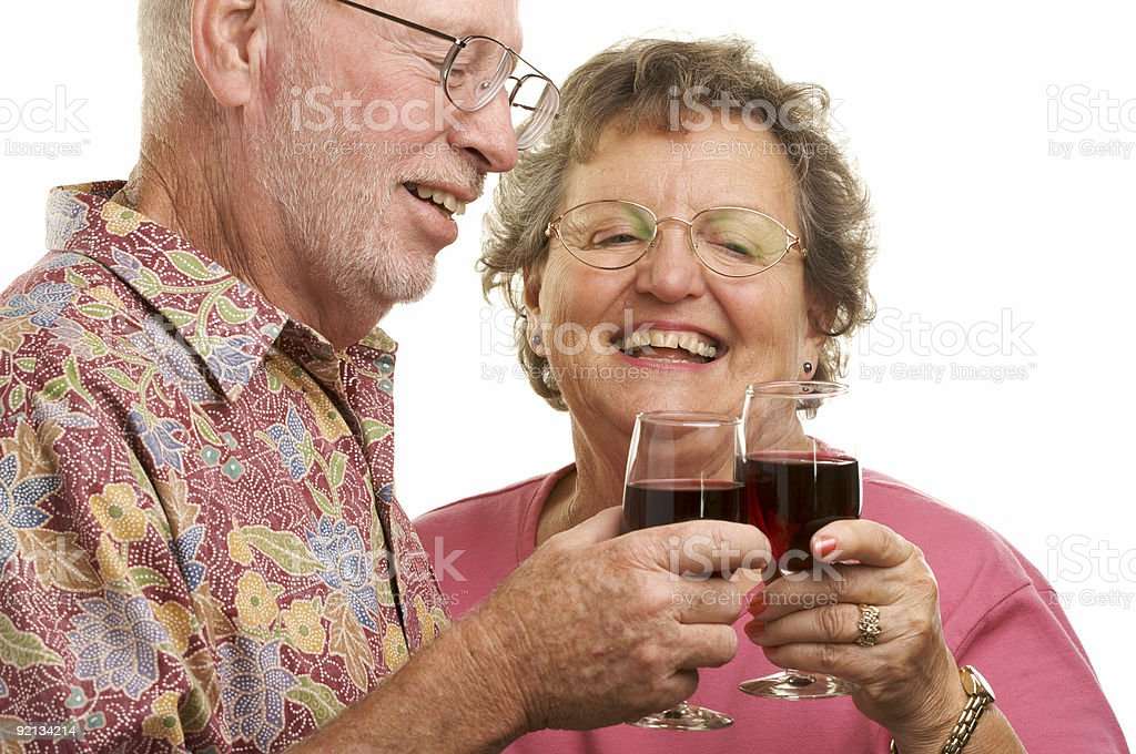 Senior Couple Toasting royalty-free stock photo