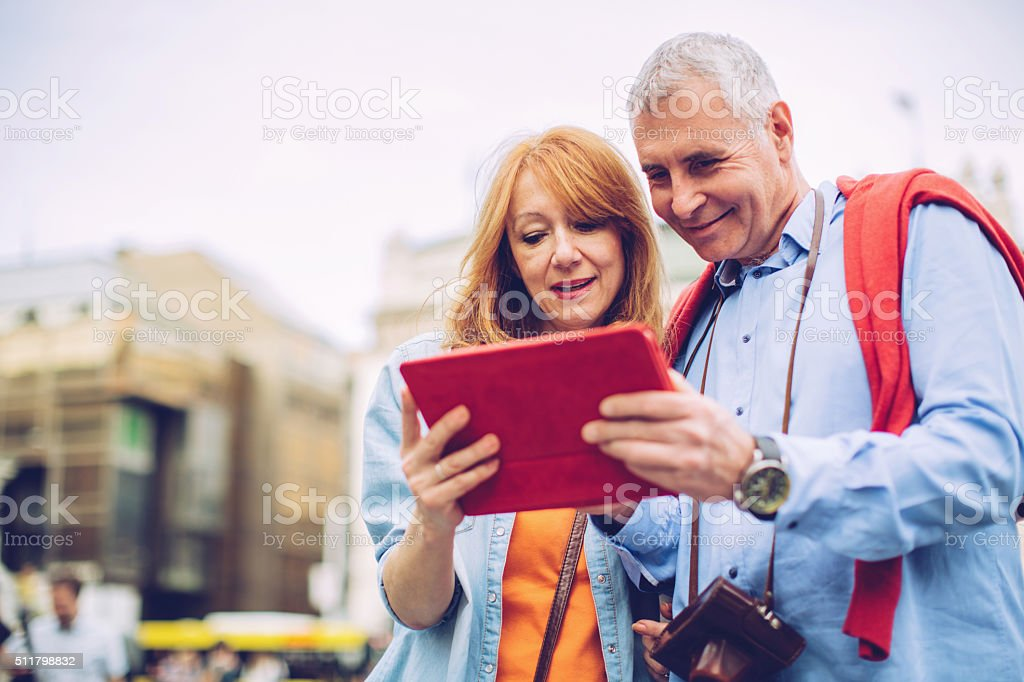 Senior couple traveling stock photo