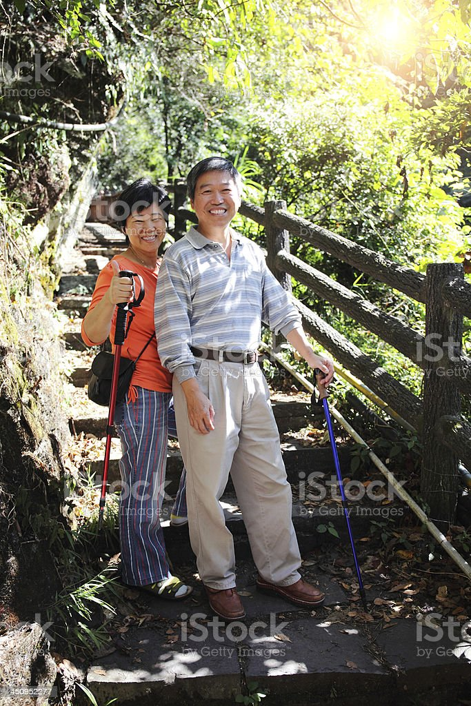 A senior couple walking down stairs in the forest royalty-free stock photo