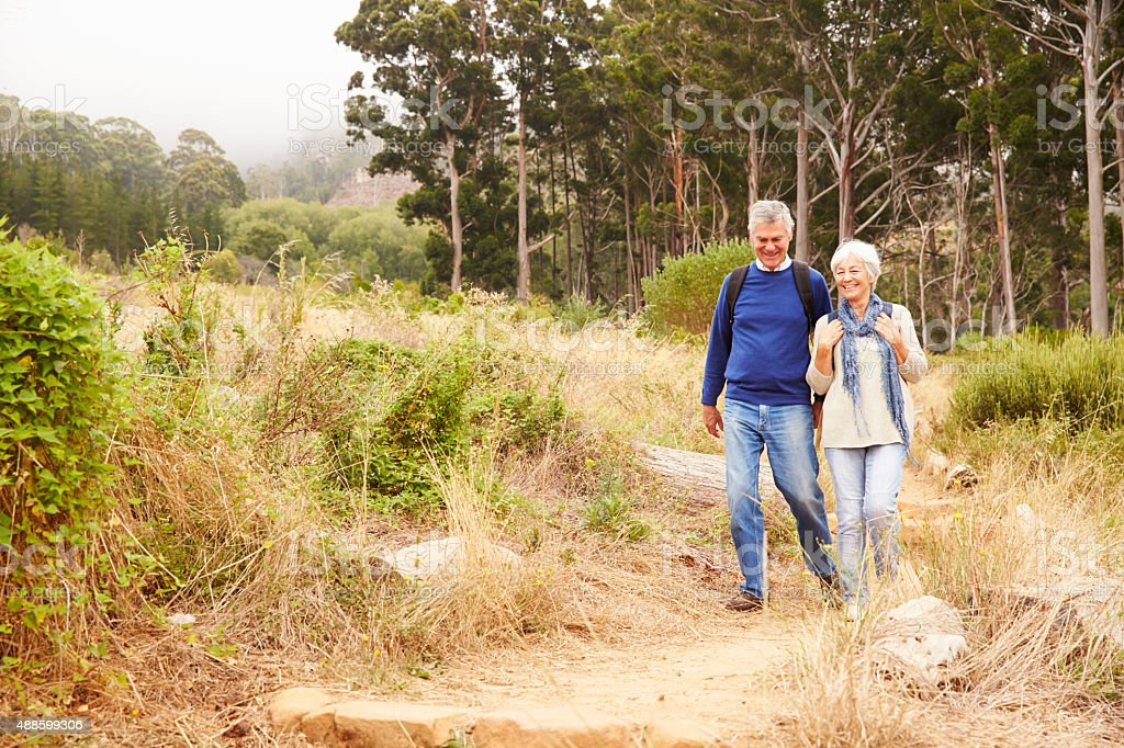 Senior couple walking in a forest towards the camera stock photo
