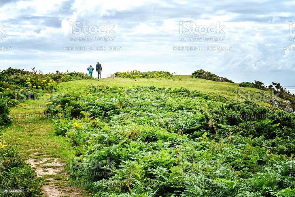 Senior couple walking on Gower headland stock photo
