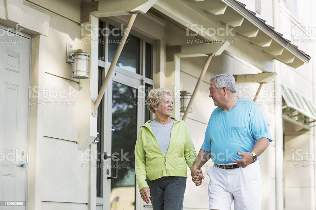 Senior couple walking royalty-free stock photo