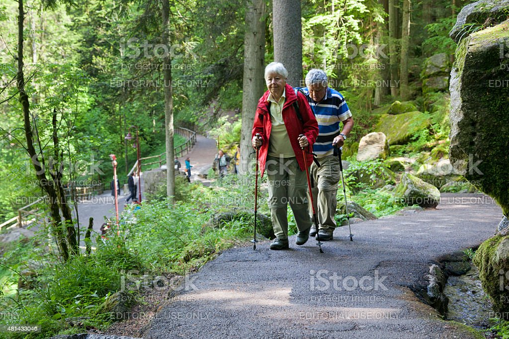 Senior couple walking together along a forest trail stock photo