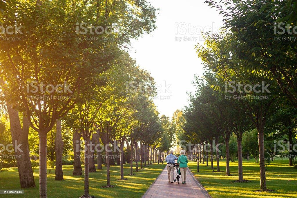 Senior couple walking with bike. stock photo