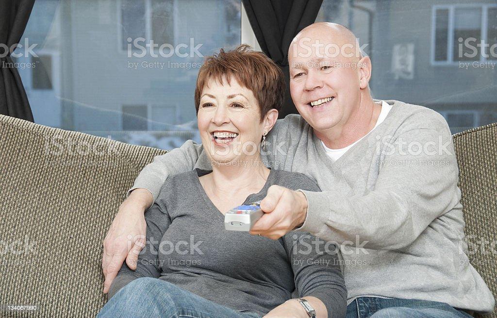 Senior Couple Watching TV royalty-free stock photo