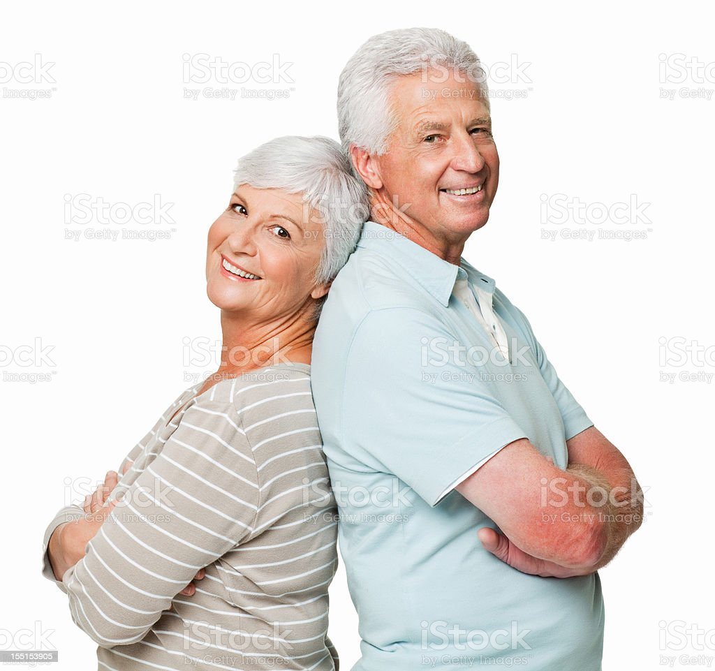 Senior Couple With Backs Together - Isolated royalty-free stock photo