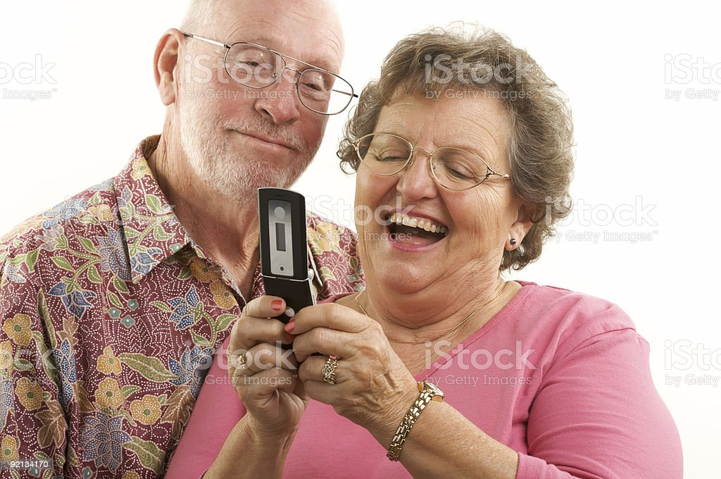 Senior Couple with Cell Phone royalty-free stock photo