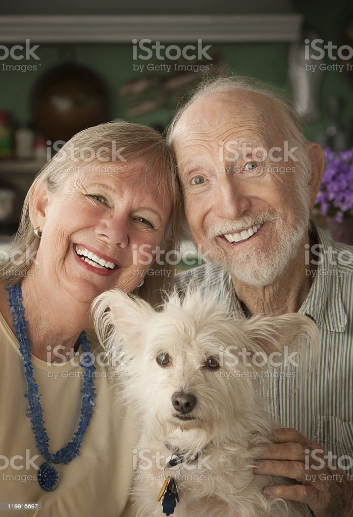 Senior Couple With Dog royalty-free stock photo