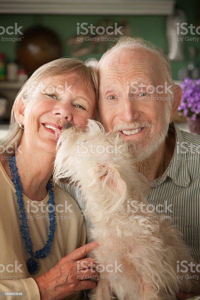 Senior Couple With Dog royalty-free stock photo