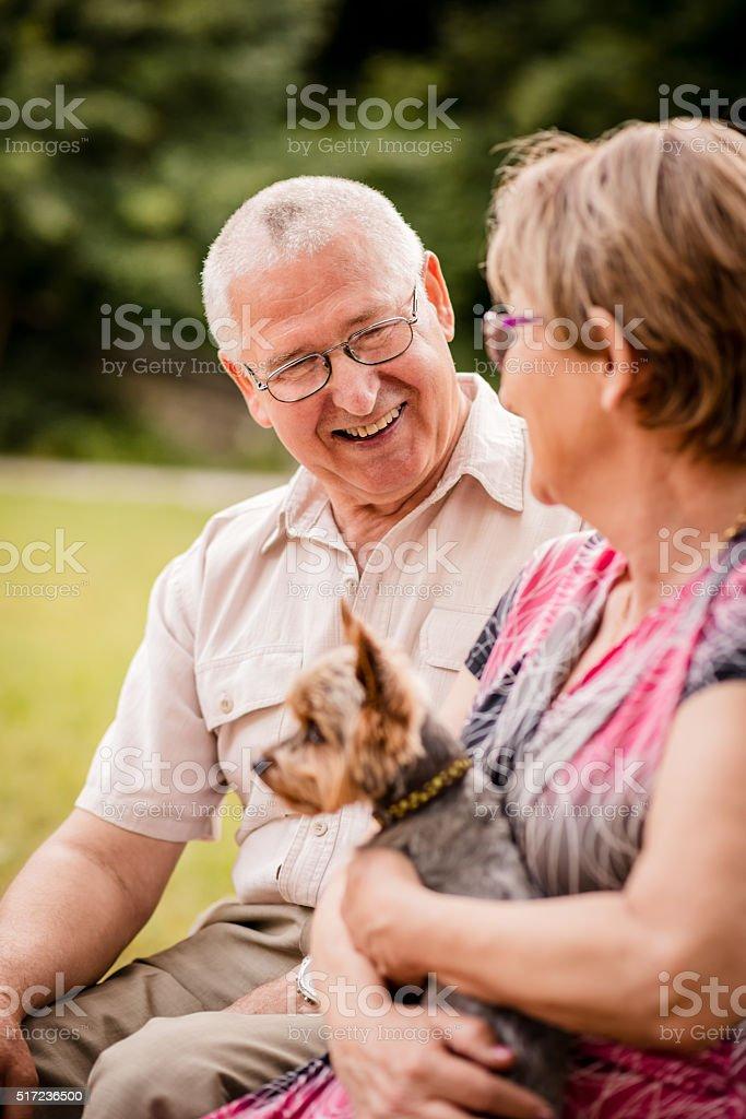 Senior couple with dog stock photo