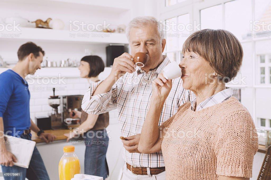 senior couple with next generation royalty-free stock photo