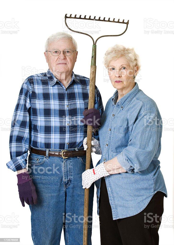 Senior Couple with Rake stock photo