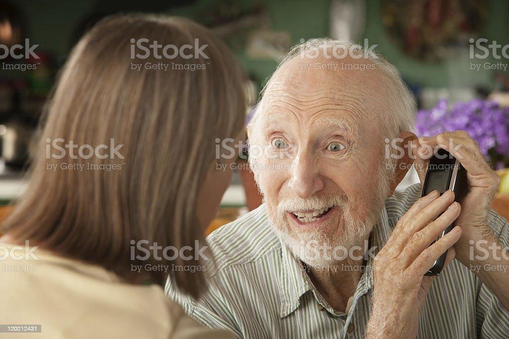 Senior couple with telephone royalty-free stock photo