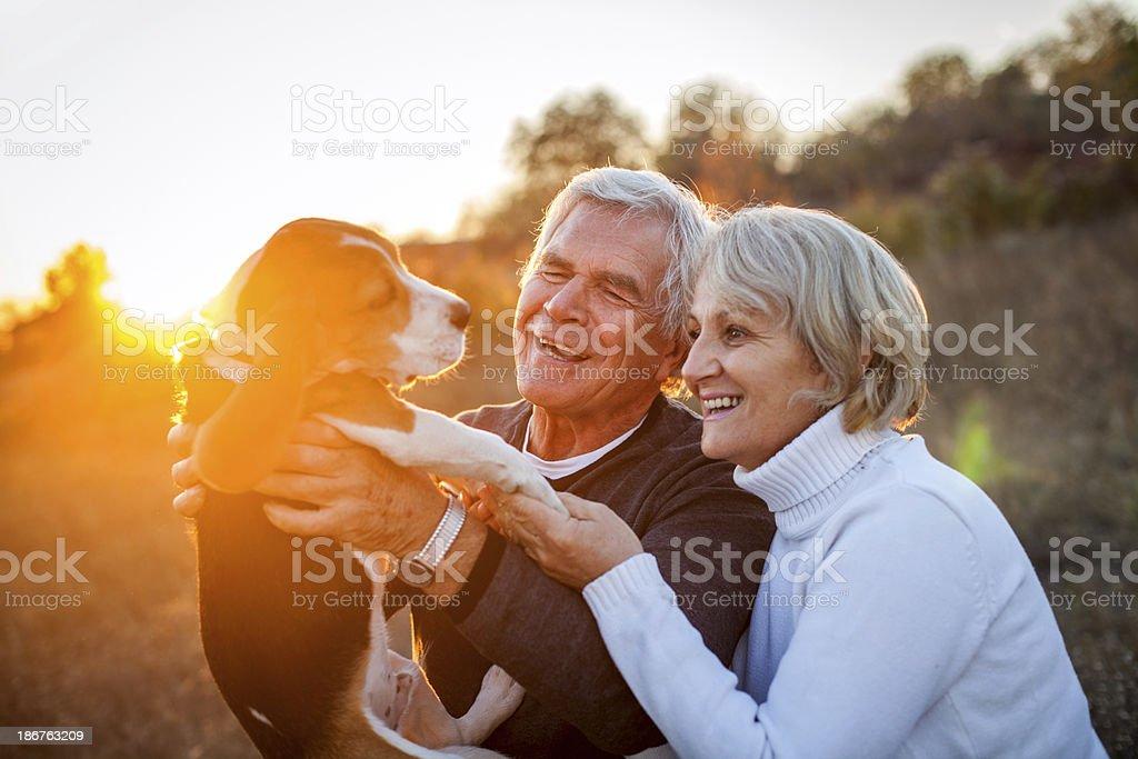 Senior couple with their puppy royalty-free stock photo