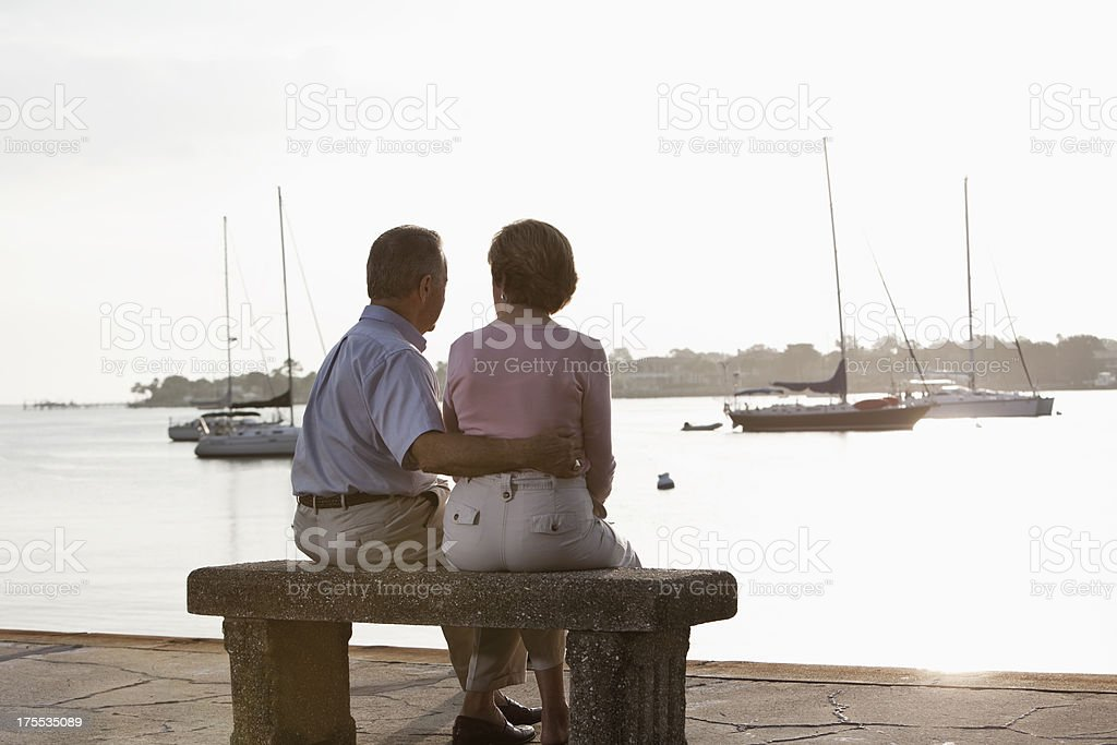 Senior couple with waterfront view stock photo