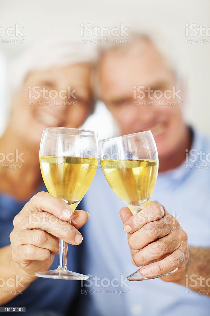 Senior Couple's Hand Toasting Wineglasses At Home royalty-free stock photo