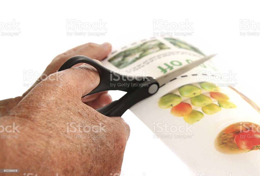 senior cuts  coupons out stock photo